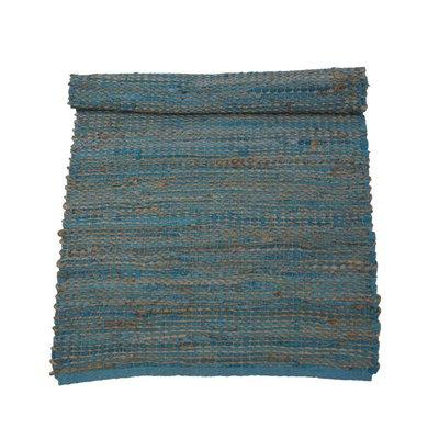 Leren turquoise vloerkleed 170 x 240 cm