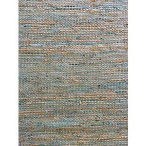 Vloerkleed jute turquoise leer 90 x 150 cm