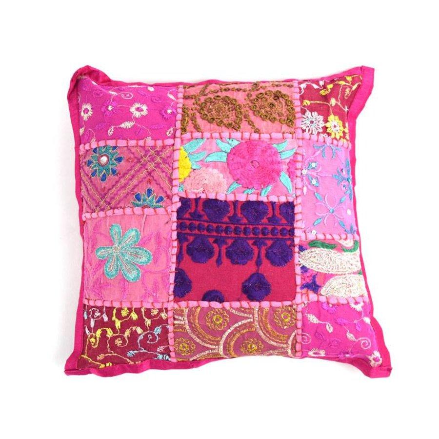 Kinderkussentje roze patchwork