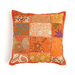Kinderkussentje oranje patchwork