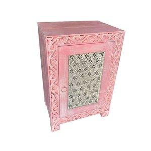 Bohemian roze nachtkastje met transparante bloemen mozaiek