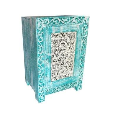 Nachtkastje turquoise met transparante bloemetjes