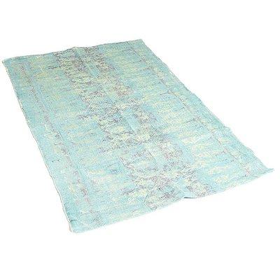 Vloerkleed turquoise stempelprint