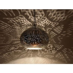 Zilveren oosterse vintage hanglamp filigrain