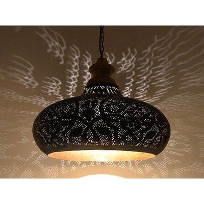 Hanglamp zwart filigrain met hout