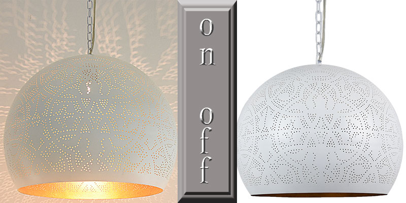 Oosterse witte hanglamp