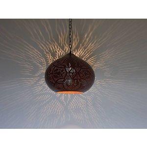 Industriele oosterse hanglamp filigrain rood bruin