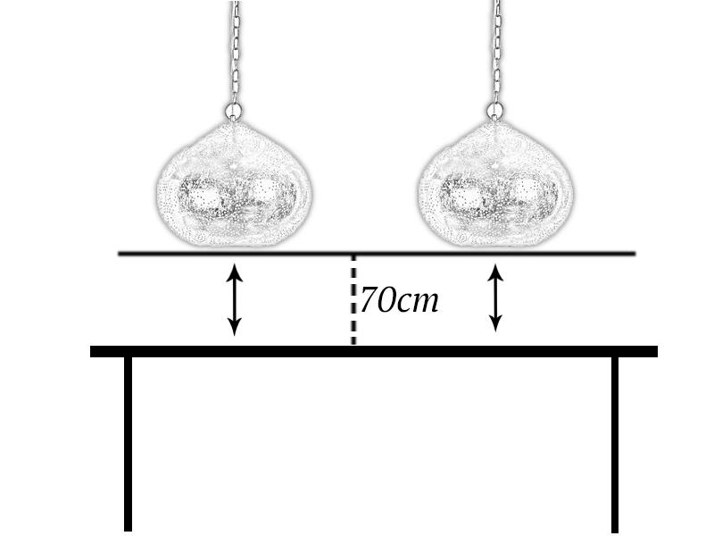 De juiste afstand tussen open hanglamp en eettafel