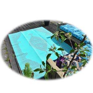 Plastic buitenkleed grijs turquoise arabisch
