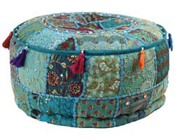 turquoise patchwork poef