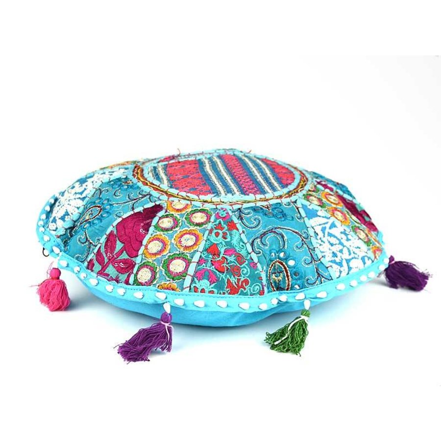 Turquoise patchwork rond kussen