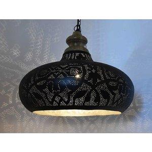 Open hanglamp zwart met zilver