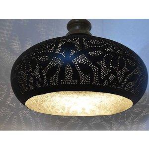 Open hanglamp zwart met zilver en hout