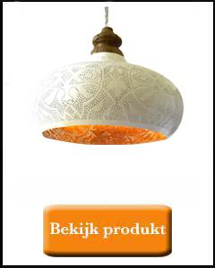 Grote witte filigrain lamp met massief hout