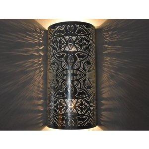 Wandlamp zilver filigrain cilinder