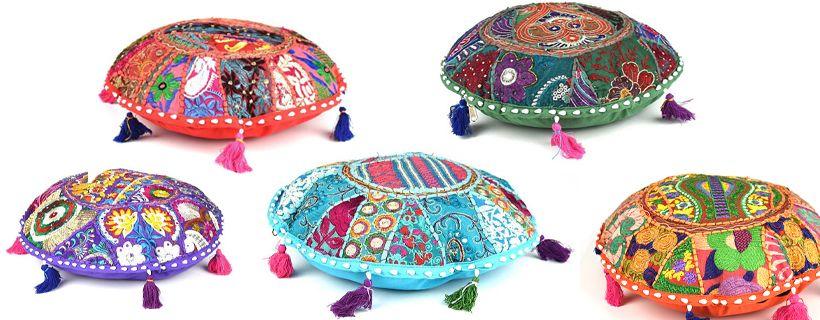 Meditatie ronde kussentjes in chakra kleuren