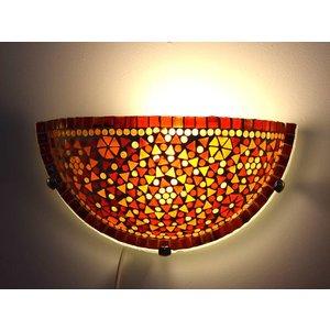 Oosterse wandlamp glasmozaïek oranje rood traditioneel design