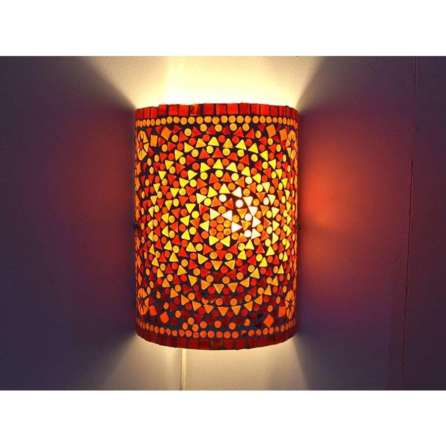 Oosterse wandlamp glasmozaïek rood oranje