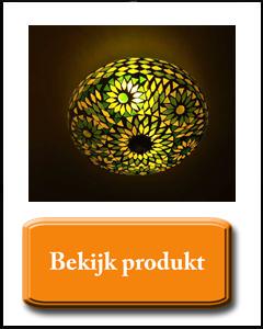 Groene plafondlamp met bloem motief in het goud