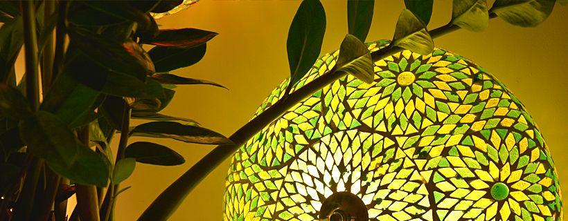 Groene mozaïek plafondlamp en hanglamp helemaal hot!