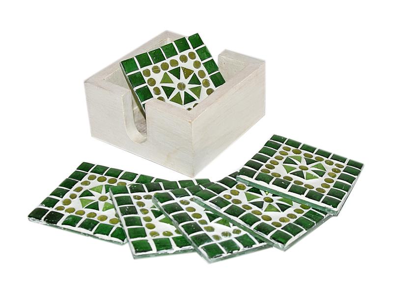 Groen mozaïek onderzetters