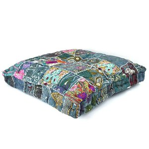 Loungekussen grijs patchwork