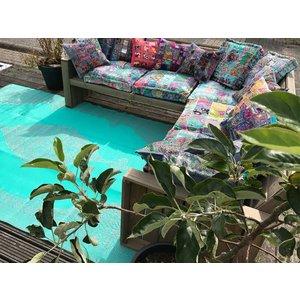 Loungekussen blauw patchwork 60 cm