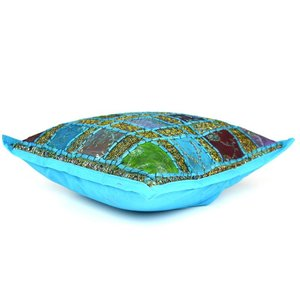 Blauw turquoise patchwork kussentje