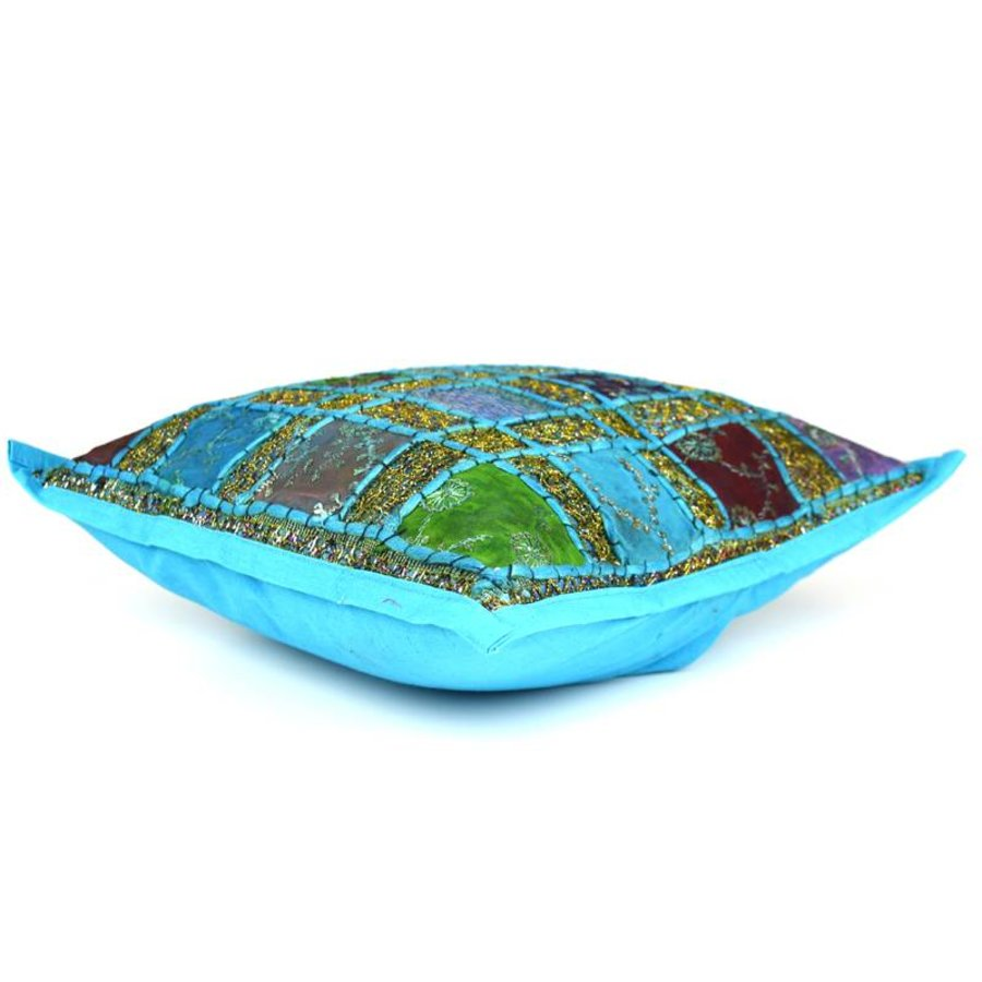 Blauw turquoise patchwork kussentje
