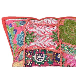 Rood patchwork kussen vierkant