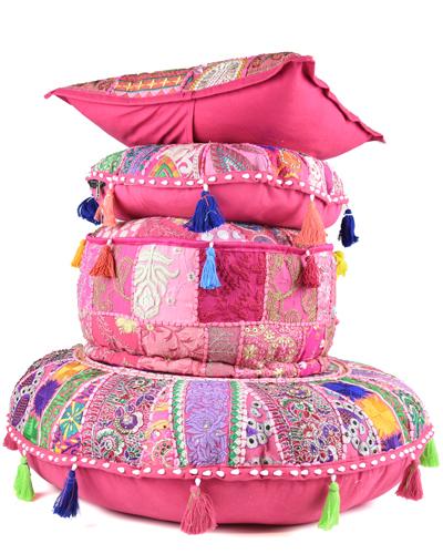 Set Roze patchwork vloerkussens en sierkussen