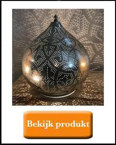 Zilveren oosterse filigrain tafellamp