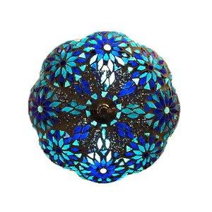 Blauwe bloemen plafonnière ibiza style