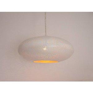 Witte oosterse hanglamp met goud