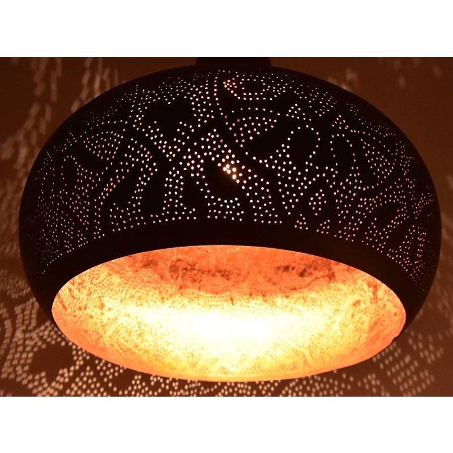 Open hanglamp zwart met koper filigrain