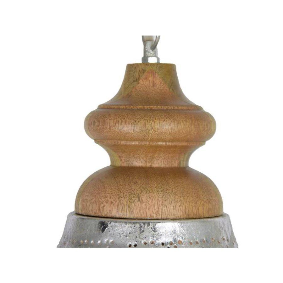 Zilveren filigrain eettafellamp met hout