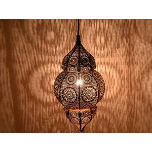 Klein oosters aladdin hanglampje zwart met koperen binnenkant