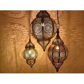 3 delige hanglampen set zwart, goud