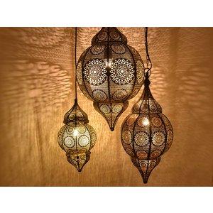 3 delige oosterse hanglampen set zwart,goud
