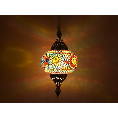 Oosterse hanglamp mozaïek multi color turkisch design