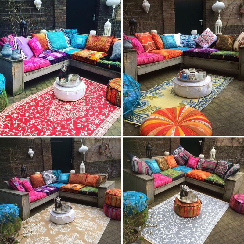 Kleurrijke matras kussens op houten tuinbanken in verschillende maten en kleuren