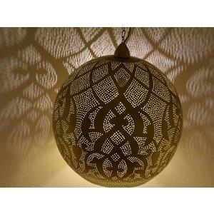 Grote open filigrain hanglamp messing