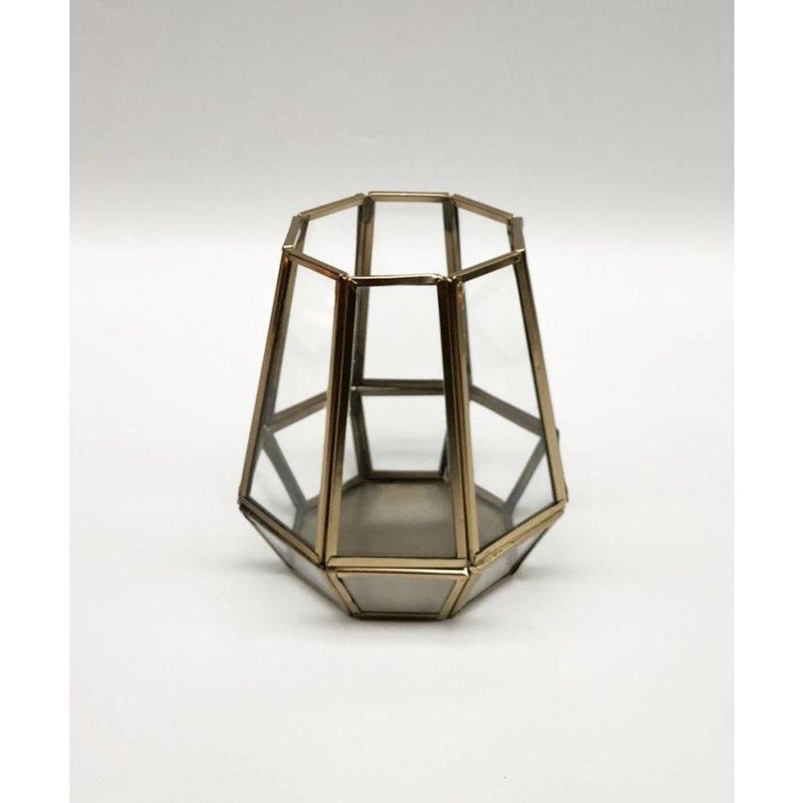 Waxinehouder goud hexagon