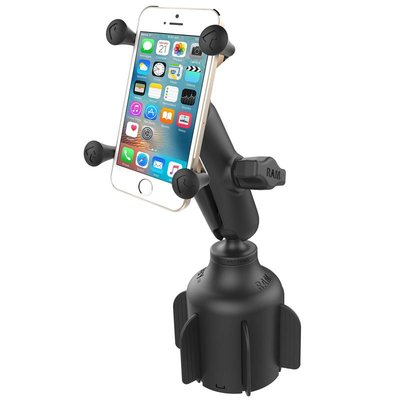 RAM Mount Stubby™ Cup Holder base met X-Grip smartphone