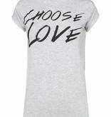 Choose Love T-shirt NIKKIE - grijs