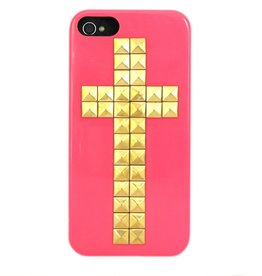 Studs kruis hard back hoesje iPhone 5 / 5S roze