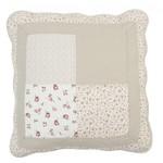 Q103 Quilt bedsprei en kussens Grote en kleine rozen motief, ruitjes en streepjesRood, rose, beige, wit