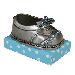 6ZI163BL - Tandendoosje (schoen) - 4 x 6 x 4 cm - ijzer - grijs
