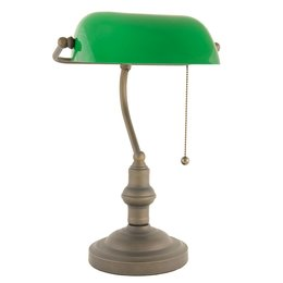 Bureaulamp brown shade greenØ 27*40 cm E27 / Max 60W