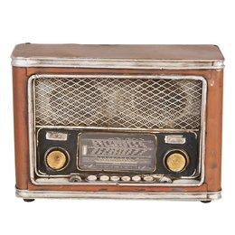 6Y1229 - Spaarpot radio - 24 x 10 x 16 cm - ijzer - zwart